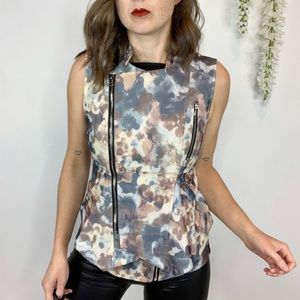 TOV HOLY floral moto vest ruffled zippers 1339